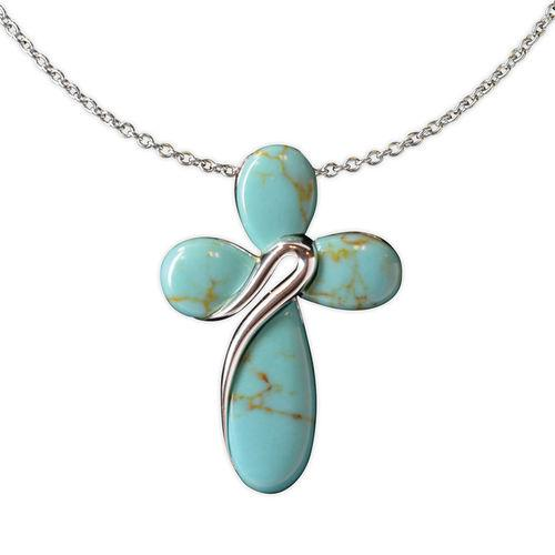 Jody Coyote Serenity Turquoise Rounded Shaped Cross Necklace