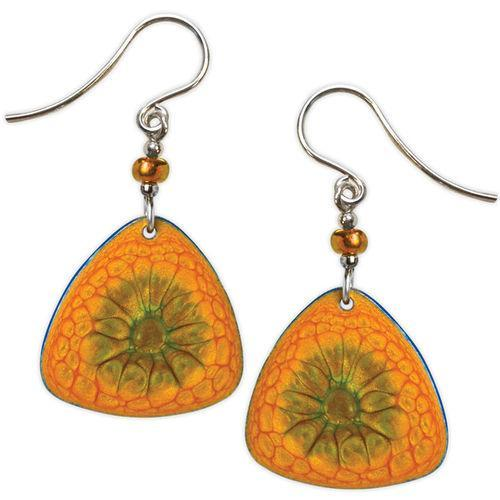 Jody Coyote Studio Orange Abalone Rounded Triangle Earring