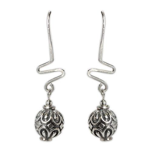 Jody Coyote Harmony Ball Silver Sculpted Round Bead On Zigzag Wire Earring
