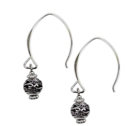 Jody Coyote Harmony Ball Silver Sculpted Round Bead On Hoop Wire Earring