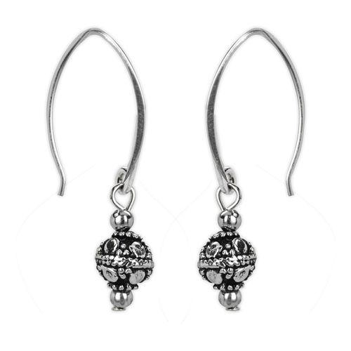 Jody Coyote Harmony Ball Silver Small Sculpted Round Bead On Narrow Hoop Wire Earring
