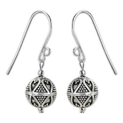 Jody Coyote Harmony Ball Silver Small Sculpted Round Bead Short Dangle Earring