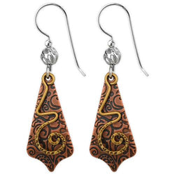 Jody Coyote Esemble Brown Etched Pointed Drop Shield with Gold Spiral Earring