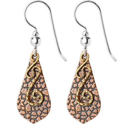 Jody Coyote Esemble Brown Etched Pointed Drop Shield with Gold and Squiggle Earring