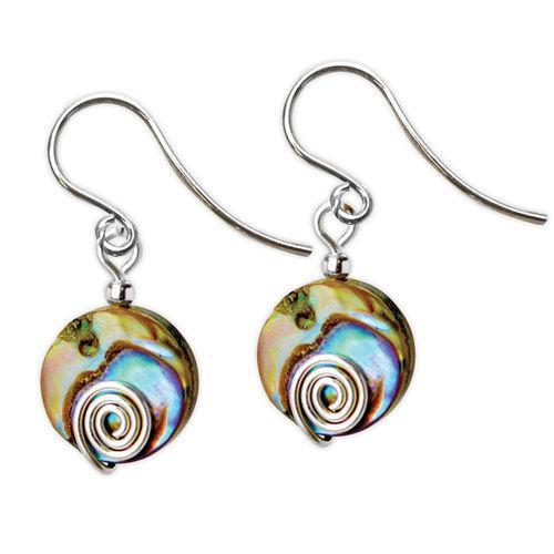 Jody Coyote Neo Geo Abalone Disc with Silver Spiral Earring