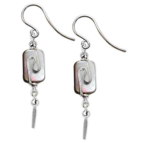 Jody Coyote Neo Geo Mother of Pearl Oval Drop with Silver and Squiggle Earring