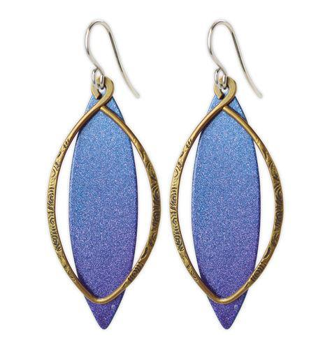 Jody Coyote Sapphire Flame Blue Purple Metal Marquis Shield, Bronze Oval Earring