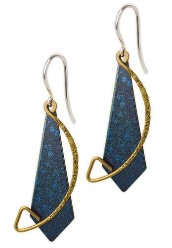 Jody Coyote Sapphire Flame Blue Metal Drop Shield, Bronze Arc Earring