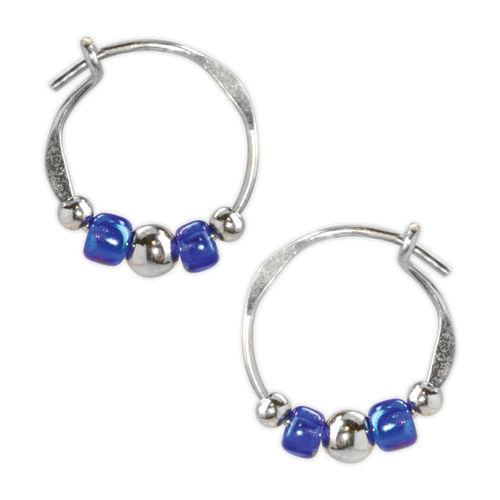 Jody Coyote Orbit Blue and Silver Bead Slides Earring