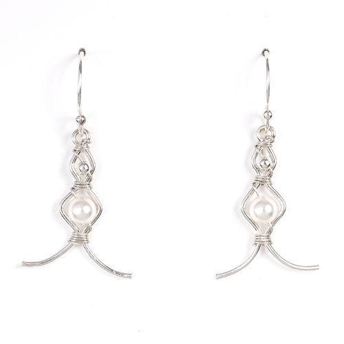 "Almeta Earring Collection by Jody Coyote features silver filled wire designs with imitation pearls and sterling silver accent beads. Measures approximately 0.875"" not including ear wire. Tarnish resistant."