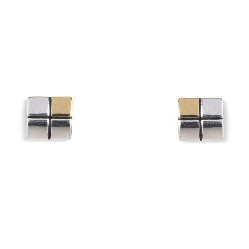 Jody Coyote GEO Square Rhodium/Gold Plated Earring