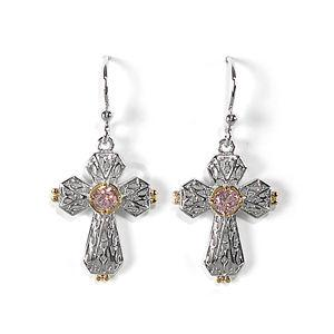 Jody Coyote Grace Two-Tone Filigree Cross with Pink Cubic Zirconia Earring