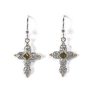 Jody Coyote Grace Two-Tone Filigree Cross with Olive Cubic Zirconia Earring