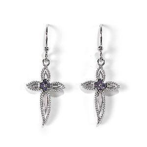 Jody Coyote Grace Amethyst Cubic Zirconia Flower Cross Earring