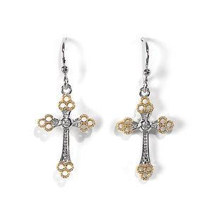 Jody Coyote Grace Two-Tone Tri-Lobe Cross with Clear Cubic Zirconia Earring