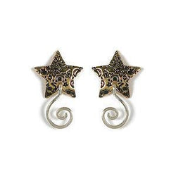 Jody Coyote Lovestruck Gold Plated Posted Star and Sf and Squiggle L/R Earring