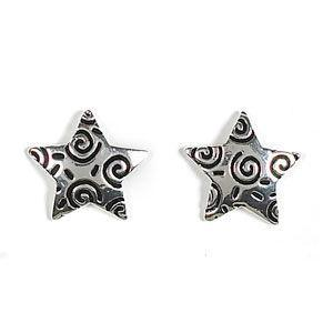Jody Coyote Lovestruck Silver Plated Posted Texture Star with Ab Earring