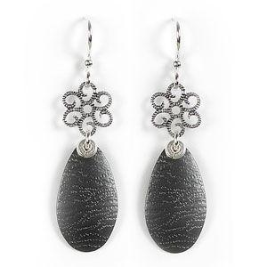 Jody Coyote Polaris Small Filigree Daisy, Paint Texture Egg Earring