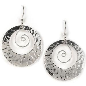 Jody Coyote Moonlight Silver Plated Texture Cutout Circle and SFW Square 428 Earring