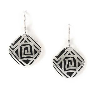 Jody Coyote Moonlight Silver Plated Antique Texture Turned Square Earring