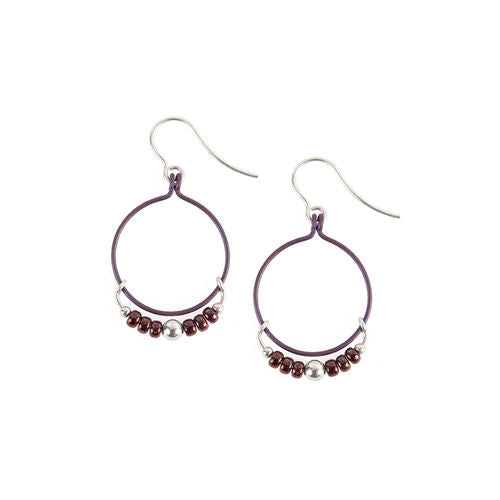 Jody USA Free Form Beaded Purples Circle Drop Earring