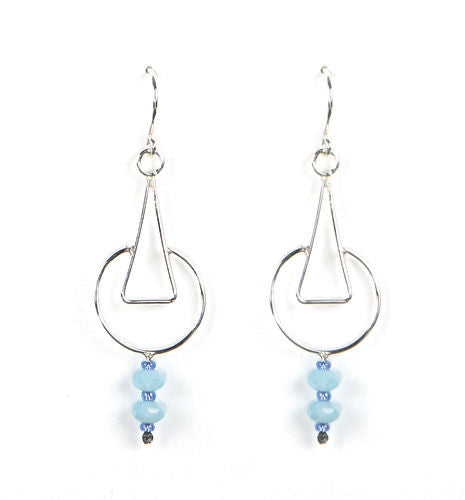 Jody USA Free Form Silver Circle Triangle with Blue Bead Earring