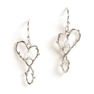 Jody Coyote Wilder Hearts Vine Heart with Cubic Zirconia Earring