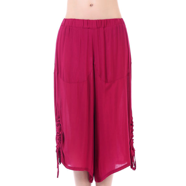 Red Ruched Harem Pants