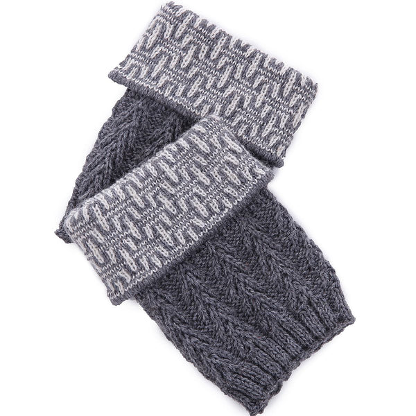 Grey Dresden Knit Boot Cuff