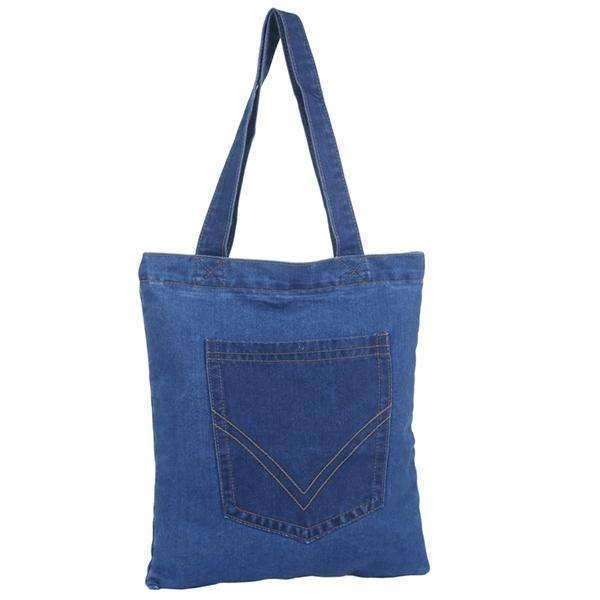 Back Pocket Denim Tote Bag,Totes,Mad Style, by Mad Style
