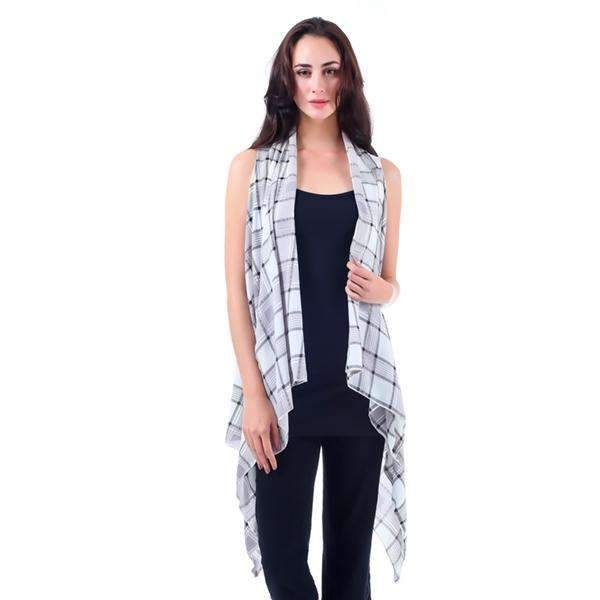Black & White Plaid Long Vest,Outerwear,Mad Style, by Mad Style