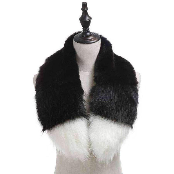 Color Block Faux Fur Collar,Heavy Scarves,Mad Style, by Mad Style