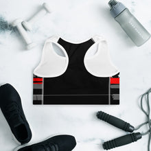 Load image into Gallery viewer, Thin Red line Grey Flag Sports Bra