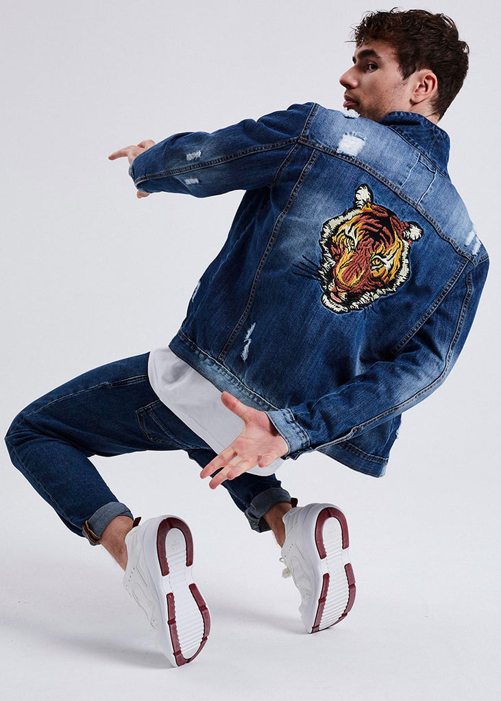 MEN DENIM TIGER JACKET