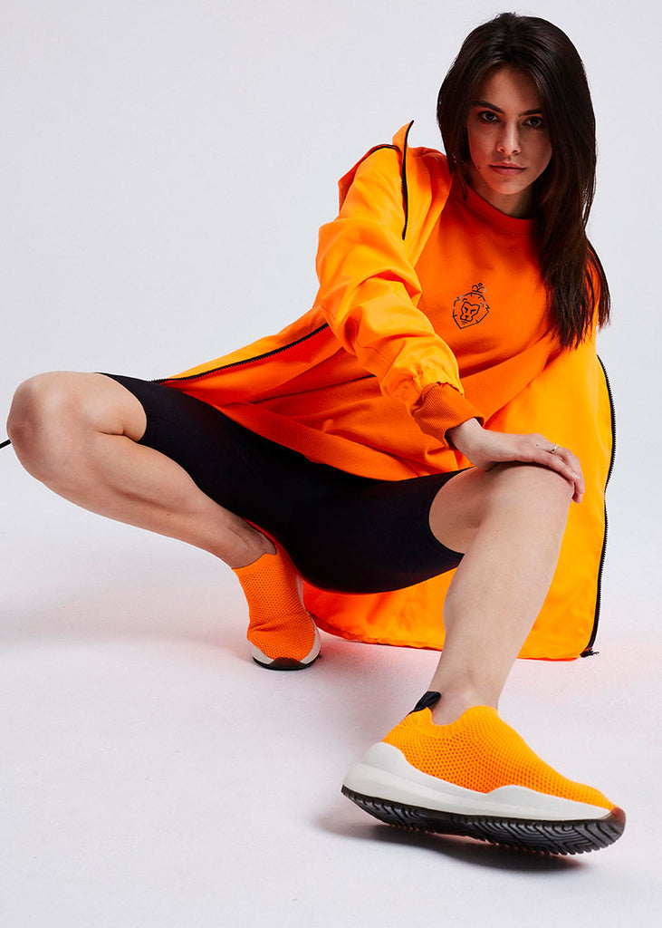 WOMEN ORANGE BASIC LOGO SWEATER