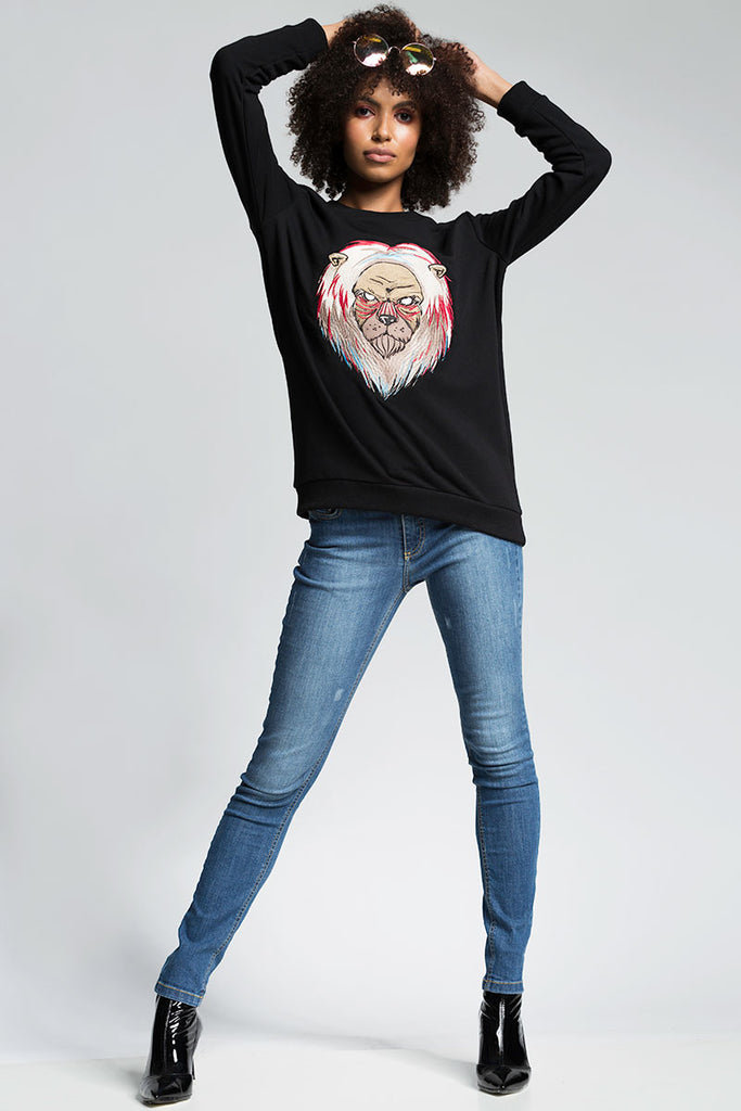 WOMAN LION BLACK SWEATSHIRT WITH PATCH