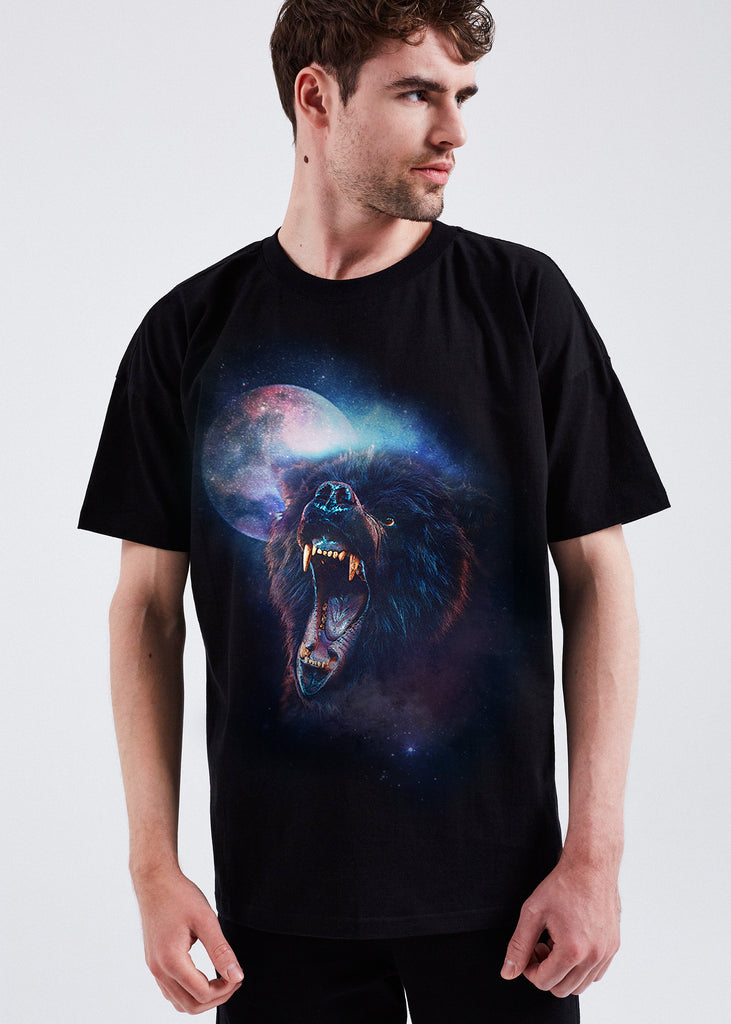 MEN BLACK WILD MOON TEE