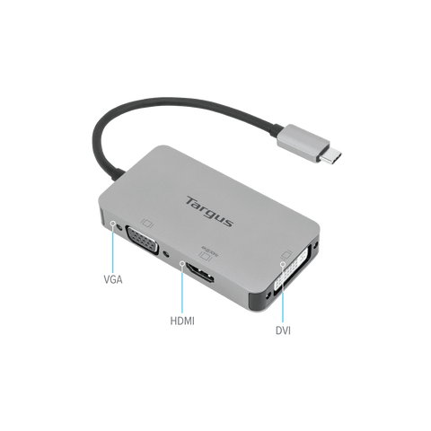 USB-C Single Video Adapter with 4K HDMI/DVI/ VGA hidden