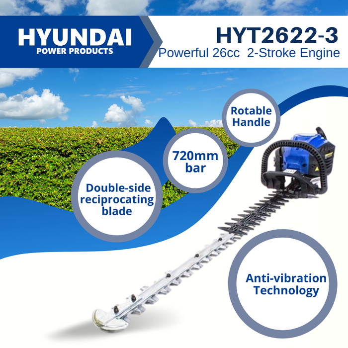 Petrol Hedge Trimmer 25.4cc Petrol Easy Start HYT2622-3