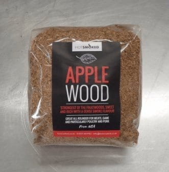 Apple wood dust by hot smoked