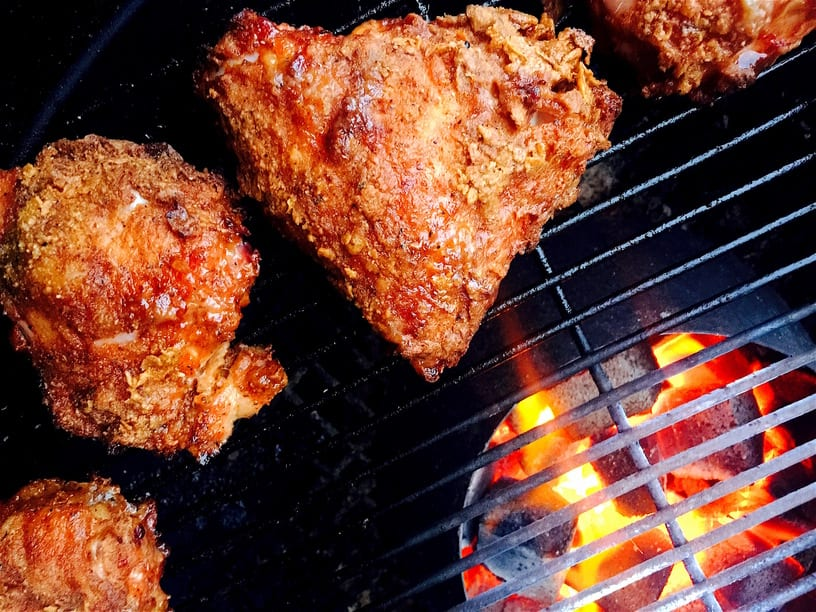 Fried Chicken KFC Style on BBQ