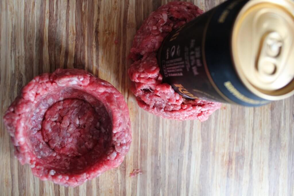 Beer can pressed into meat ball