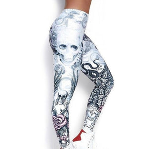 Women Leggings Skull Print High Waist Yo-ga Pants