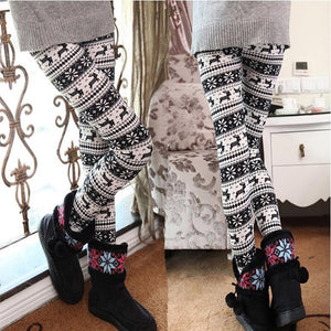Women Fashion Deer Christmas Print Bottoms Winter Warm Pants