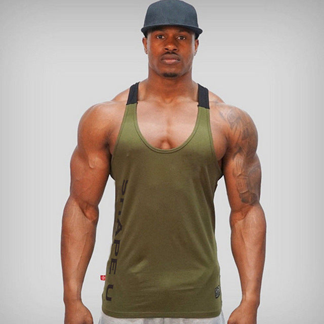 Solid Gym Men Stringer Tank Top