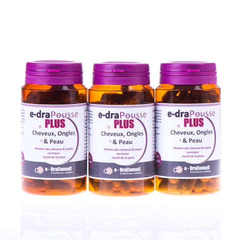 e-draPousse PLUS - Hair Vitamin Boosters - 3 Months Supply