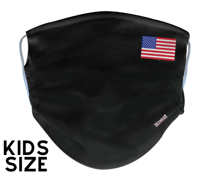 Kids Black Reusable/ Washable Face Mask - RezwearUSA