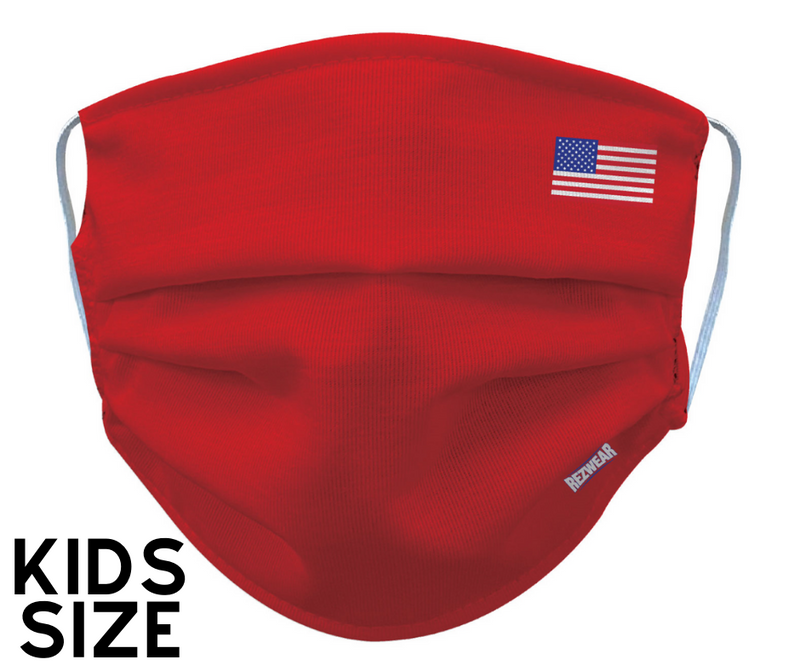 Kids Red Reusable/ Washable Face Mask - RezwearUSA