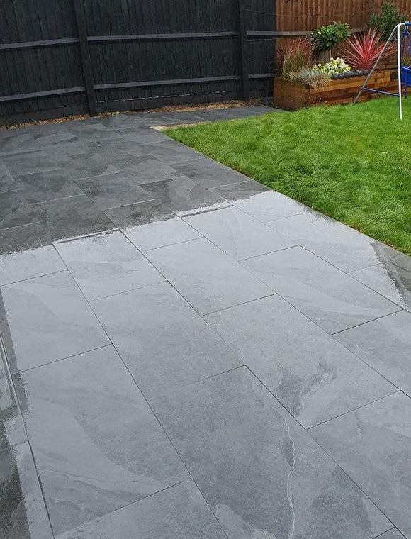 Dark Grey & Black Porcelain Paving | Tiles and Smiles
