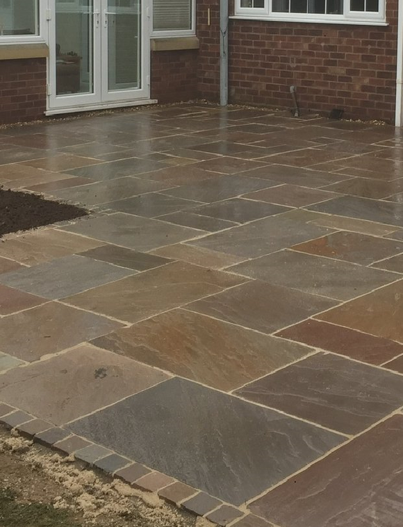 Autumn Brown Indian Sandstone Paving Slabs Mix Size- Patio Pack